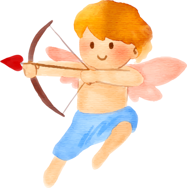 Transparent Cupid Watercolor Painting Love Cartoon for Valentines Day