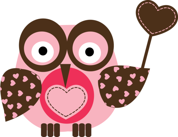 Transparent Owl Drawing Heart Pink for Valentines Day