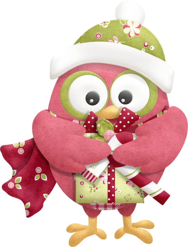 Transparent Owl Bird Christmas Day Pink Stuffed Toy for Christmas