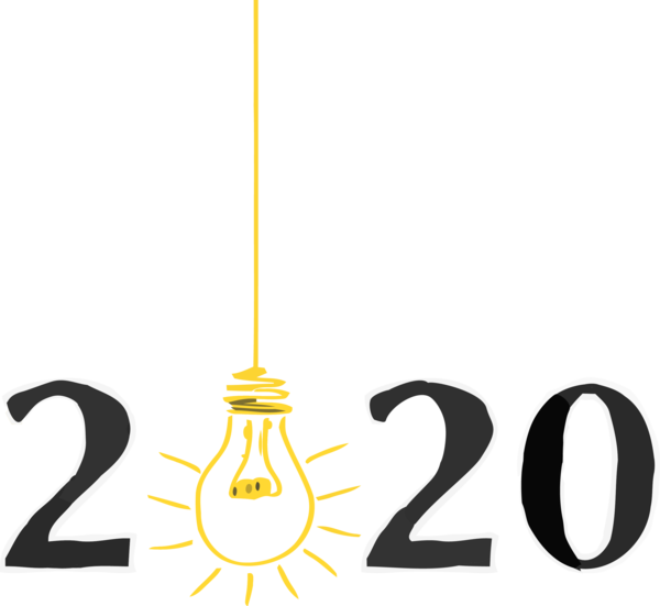 Transparent New Year 2020 Line Font Logo for Happy New Year 2020 for New Year