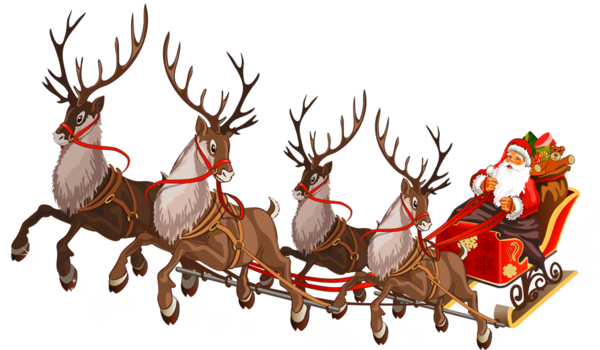 Transparent Santa Claus Reindeer Sled Christmas Ornament Chariot for Christmas