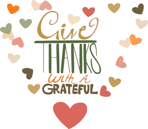 Transparent Thanksgiving Text Font Heart for Give Thanks for Thanksgiving
