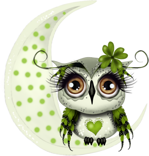 Transparent St Patrick's Day Owl Green Snowy owl for Four Leaf Clover for St Patricks Day