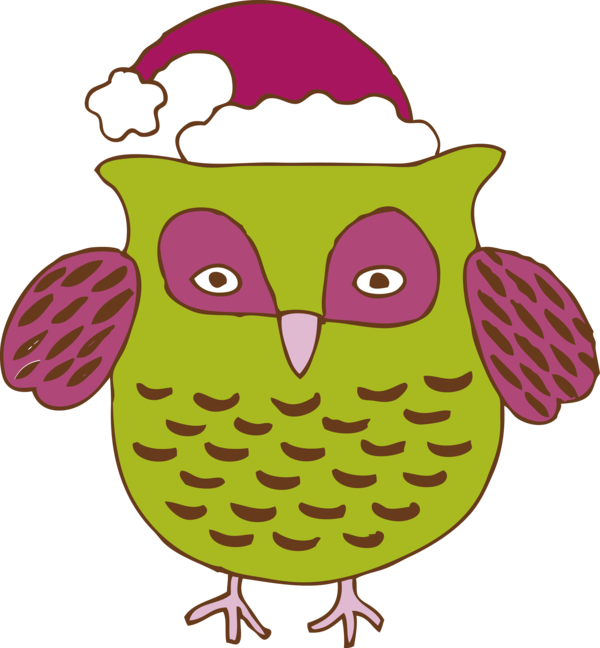 Transparent New Year Owl Bird Cartoon for Party Animal for New Year