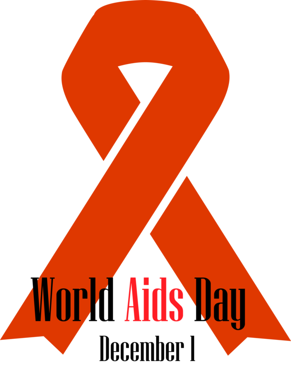 World AIDS Day Font Orange Line for Red Ribbon for World ...