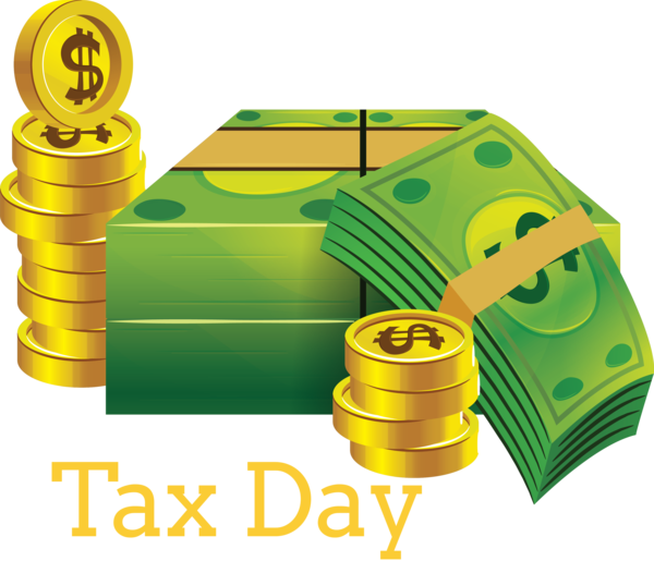 Transparent Tax Day Green Yellow Money for 15 April for Tax Day
