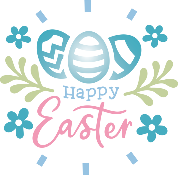 Transparent Easter Text Turquoise Font for Easter Day for Easter