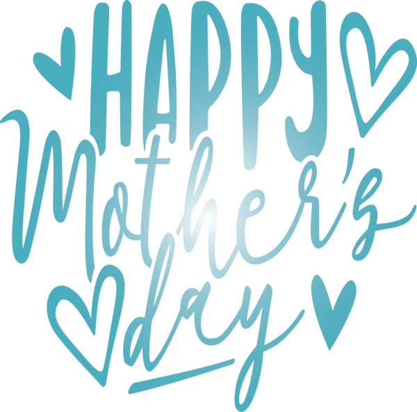 Transparent Mother's Day Font Text Turquoise for Mothers Day Calligraphy for Mothers Day