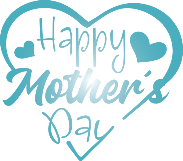 Transparent Mother's Day Text Font Turquoise for Mothers Day Calligraphy for Mothers Day