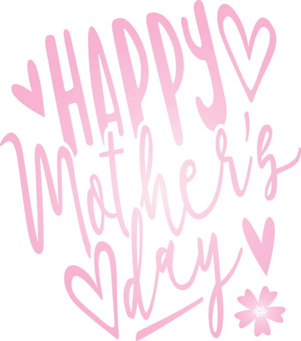 Transparent Mother's Day Text Font Pink for Mothers Day Calligraphy for Mothers Day