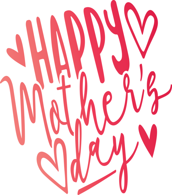 Transparent Mother's Day Text Font Heart for Mothers Day Calligraphy for Mothers Day