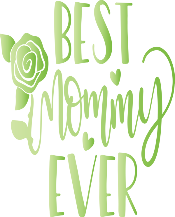 Transparent Mother's Day Font Green Text for Mothers Day Calligraphy for Mothers Day