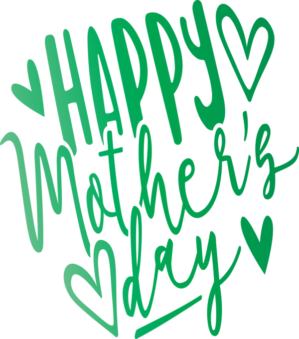 Transparent Mother's Day Green Font Text for Mothers Day Calligraphy for Mothers Day
