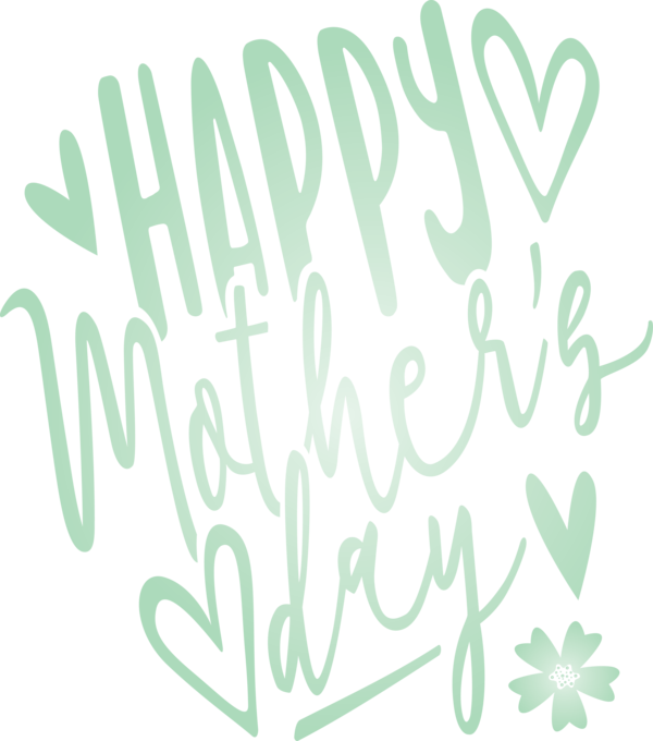 Transparent Mother's Day Font Text Green for Mothers Day Calligraphy for Mothers Day