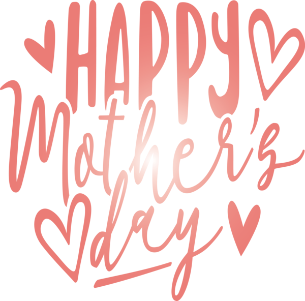 Transparent Mother's Day Font Text Heart for Mothers Day Calligraphy for Mothers Day