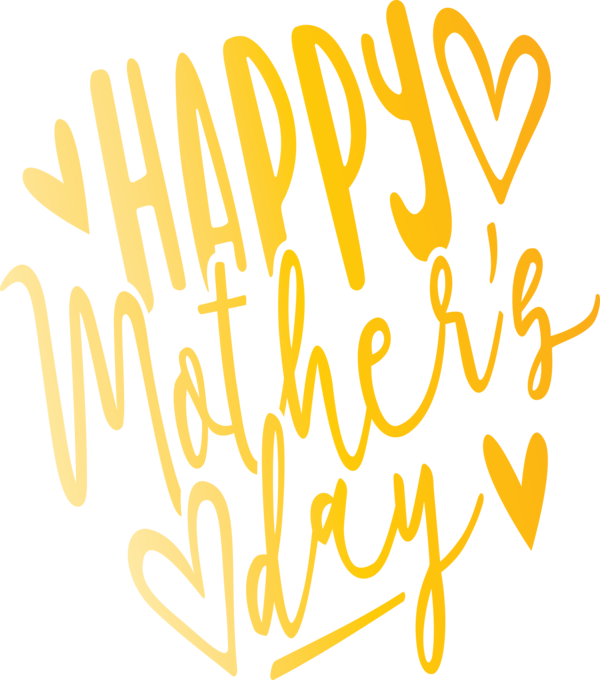 Transparent Mother's Day Text Font Yellow for Mothers Day Calligraphy for Mothers Day
