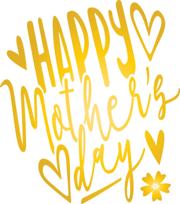 Transparent Mother's Day Text Yellow Font for Mothers Day Calligraphy for Mothers Day