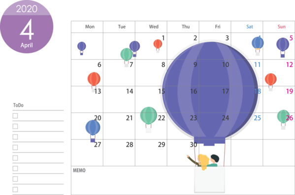 Transparent New Year Diagram Text Line for Printable 2020 Calendar for New Year