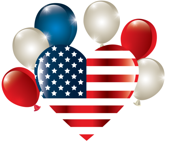 Transparent US Independence Day Balloon Heart Party supply for 4th Of July for Us Independence Day