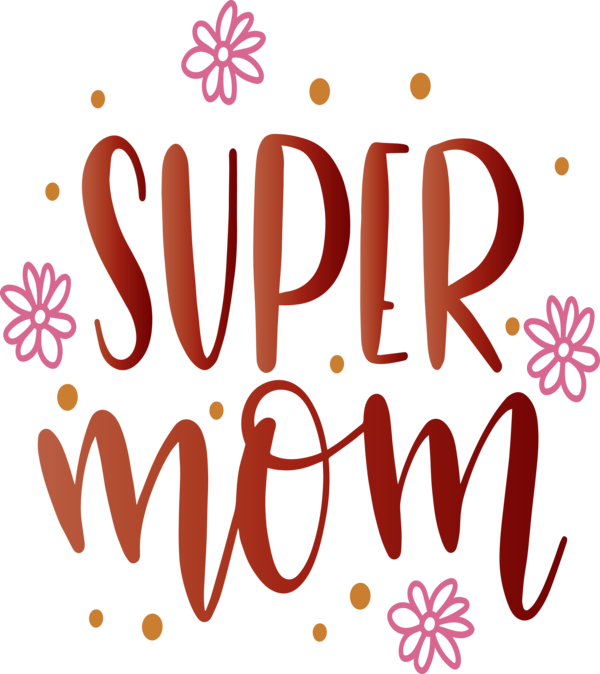 Transparent Mother's Day Logo Flower Line for Super Mom for Mothers Day