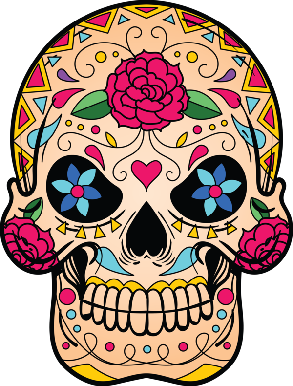 Transparent Day of the Dead Calavera Day of the Dead Color for Calavera for Day Of The Dead
