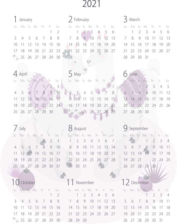 Transparent New Year Calendar System Pattern Font for Printable 2021 Calendar for New Year