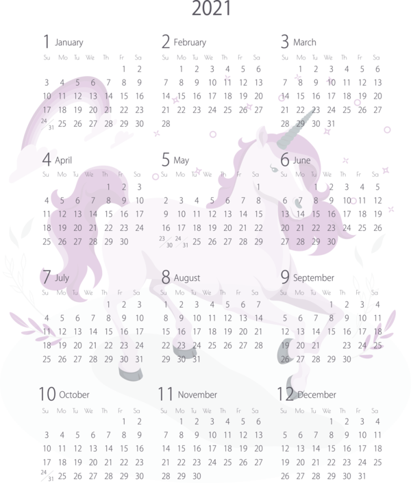 Transparent New Year Calendar System Design Font for Printable 2021 Calendar for New Year