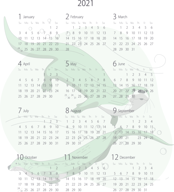 Transparent New Year Calendar System Fish Pattern for Printable 2021 Calendar for New Year