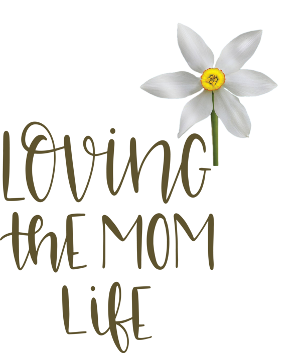 Transparent Mother's Day Cut flowers Floral design Logo for Love You Mom for Mothers Day