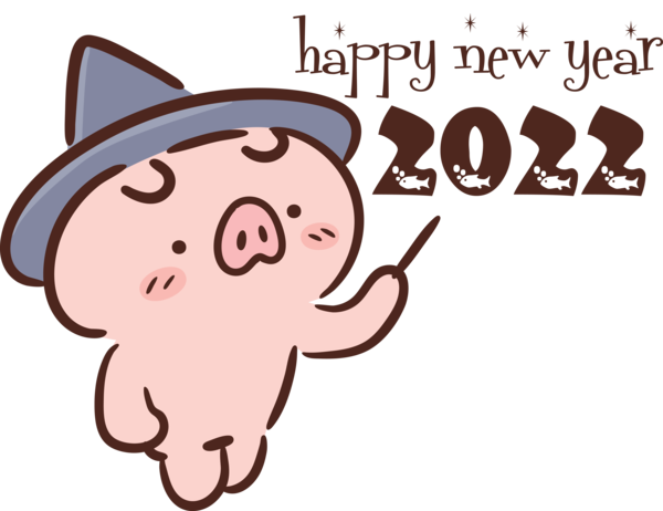 Transparent New Year Cartoon Snout Character for Happy New Year 2022 for New Year