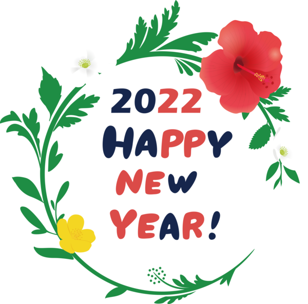 Transparent New Year Leaf Floral design Plant stem for Happy New Year 2022 for New Year