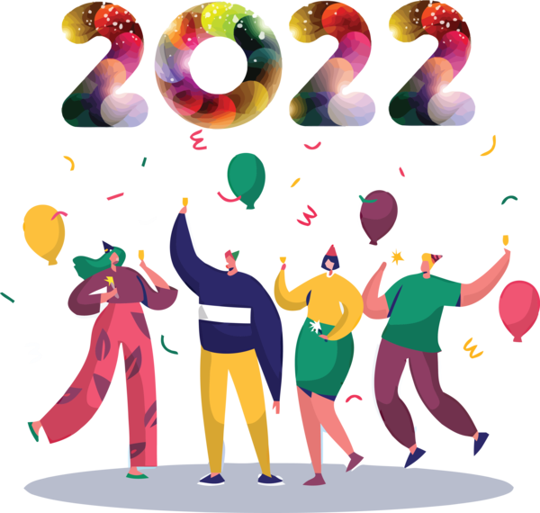 Transparent New Year Design Cartoon Birthday for Happy New Year 2022 for New Year