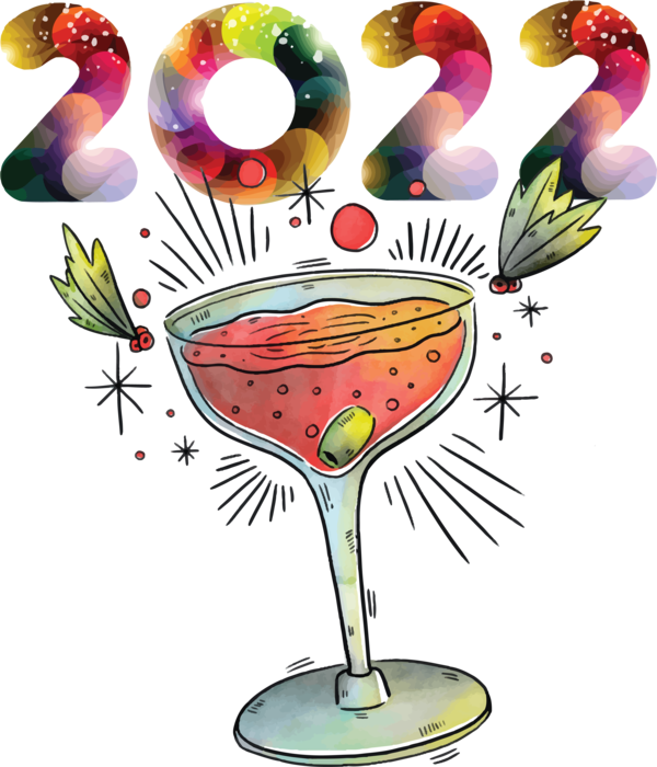 Transparent New Year Cocktail Glass Wine Glass Champagne for Happy New Year 2022 for New Year