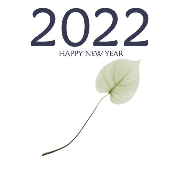 Transparent New Year Leaf Green Font for Happy New Year 2022 for New Year