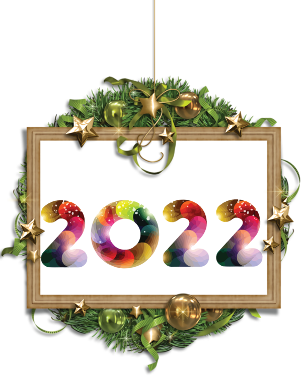 Transparent New Year Floral design Wreath Christmas Day for Happy New Year 2022 for New Year