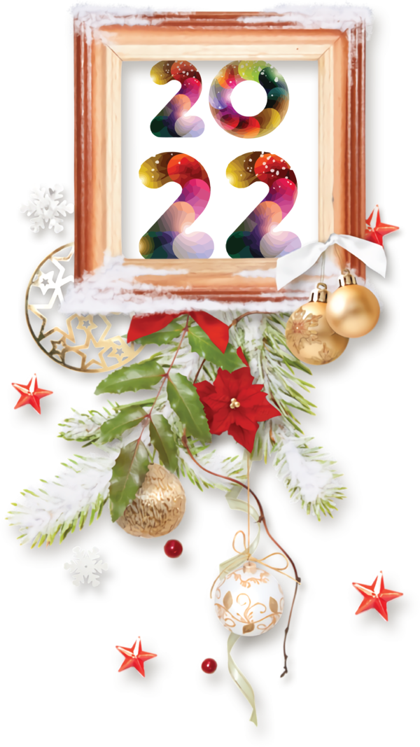 Transparent New Year Bauble Christmas Day Floral design for Happy New Year 2022 for New Year