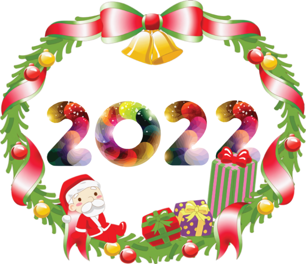 Transparent New Year Christmas Day Festive Wreath Holiday Ornament for Happy New Year 2022 for New Year