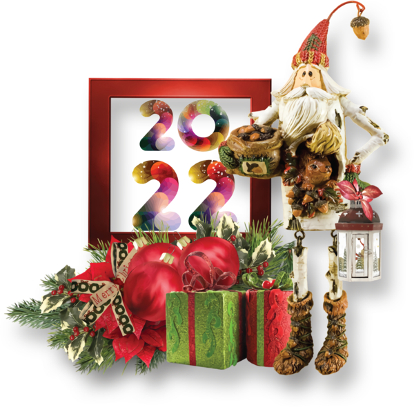 Transparent New Year Christmas decoration Christmas Day Floral design for Happy New Year 2022 for New Year